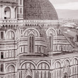 Facade of Duomo Cathedral Church, Florence - Stock Photo