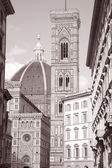 Doumo Cathedral Church Facade, Florence, — Stock Photo
