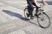 Cyclist on Cobble Stones, Berlin — Stock Photo
