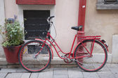 Red Bicycle in Warsaw, Poland — Stock Photo