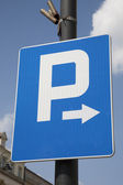 Blue Parking Sign — 图库照片