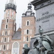 Stock Photo: MariackBasilicChurch with Adam Mickiewicz Monument, Krakow
