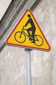 Yellow Cycling Sign — 图库照片