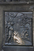 Nobleman with Dog Sculpture on Charles Bridge, Prague — Stock Photo