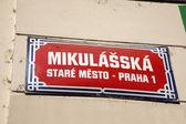 Mikulasska Street Sign, Stare Mesto Neighborhood, Prague — Stockfoto