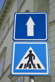 Pedestrian and One Way Sign — Stock Photo