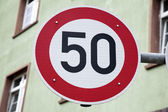 Red Fifty Speed Sign — Stock Photo