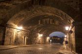 Tunnel and Street Illuminated at Night, Dresden — Stok fotoğraf