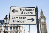 Trafalgar Square and Lambeth Birdge Street Sign, London — Stock Photo
