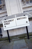 Parliament and Whitehall Street Sign in Westminster, London — Stok fotoğraf