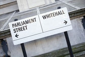 Parliament and Whitehall Street Sign in Westminster London — Stok fotoğraf