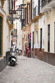 Motorbike in Street in the Santa Cruz Neighbourhood of Seville — Foto Stock