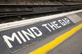 Mind the Gap Platform Sign — Stock Photo