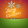 Bright Christmas background with snowflake and merry christmas s — Stock Photo
