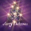 Abstract Christmas tree made of snowflakes with merry Christmas — Stock Photo #12575002