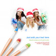 White background with three paintbrushes painting portrait of th — Stock Photo