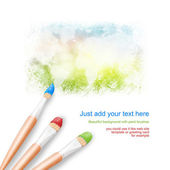 White background with three paintbrushes painting a bright world — Stock Photo