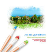 White background with three paintbrushes painting beautiful real — Stock Photo