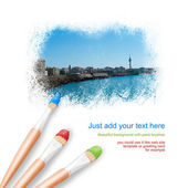 White background with three paintbrushes painting beautiful view — Stock Photo