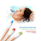 White background with three paintbrushes painting portrait of be — Stock Photo