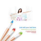 White background with three paintbrushes painting young woman at — Stock Photo