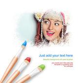 Fondo blanco con tres pinceles pintura retrato de mujer joven hermosa usando joyería tradicional ruso sombrero kokoshnik — Foto de Stock