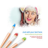 White background with three paintbrushes painting portrait of beautiful young woman wearing russian traditional jewelry hat kokoshnik — Stok fotoğraf