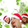 Stock Photo: Excited attractive three women with many gift boxes and bags fal