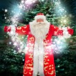 Portrait of Santa Claus conjuring against christmas tree — Stock Photo