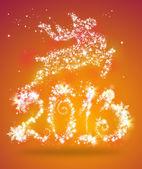 Christmas deer jumping on 2013 sign — Stock Photo