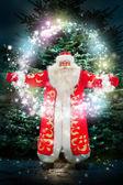 Portrét santa claus vyděsí proti vánoční strom — Stock fotografie