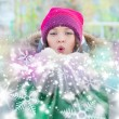 Christmas Girl.Winter woman Blowing Snow. Front View — Foto Stock