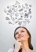 Young woman thinking about different things — Stock Photo