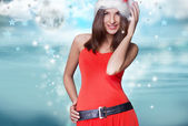 20-25 years od beautiful woman in christmas dress posing — Stock Photo