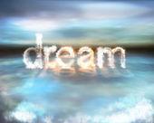 Dream cloud burning word on the water — Stok fotoğraf