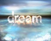 Sueño nube ardiente palabra sobre el agua — Foto de Stock