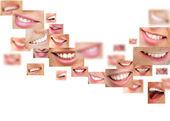 Twarze uśmiechający się w zestawie. zdrowe zęby. uśmiech — Zdjęcie stockowe