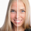 Face of beautiful woman before and after retouch — Stock Photo #13856734