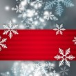 Beautiful snowflake Christmas background with red ribbon and cop - Stock Photo