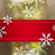 Beautiful snowflake Christmas background with red ribbon and cop — Stock Photo #13856805