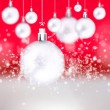 Christmas balls hanging with ribbons on abstract background — Stock Photo