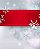 Beautiful snowflake Christmas background with red ribbon and cop — Stock Photo