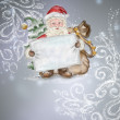 Beautiful hand drawn llustration Santa Claus with a blank poster — Stock Photo #14598949