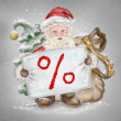 Beautiful hand drawn llustration Santa Claus with a sale sign in — Foto de Stock