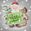 Beautiful hand drawn llustration Santa Claus with a Happy New Ye — Stock Photo #14599045