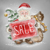 Beautiful hand drawn llustration Santa Claus with a sale sign in — Stock Photo