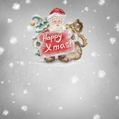Beautiful hand drawn llustration Santa Claus with a Happy Xmas p — Stock Photo