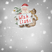 Beautiful hand drawn llustration Santa Claus with a Wishlist in — Stock Photo