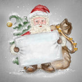 Beautiful hand drawn llustration Santa Claus with a blank poster — Stock Photo