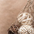 Wooden natural interior decorative wicker balls — Stock Photo